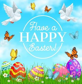 Il fumetto di festa di pasqua ha decorato le uova sui fili dell'erba verde con i fiori