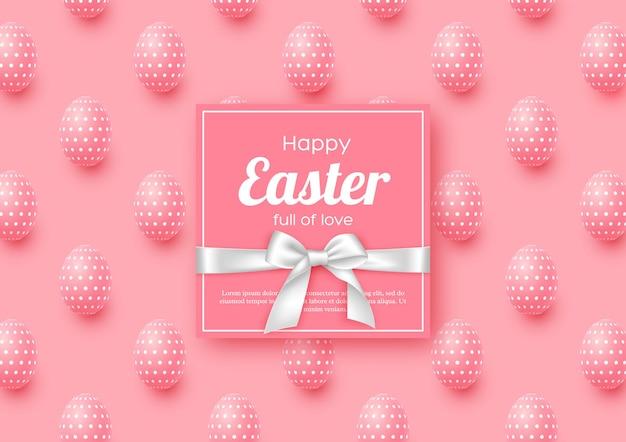 Cartolina d'auguri di festa di pasqua con uova realistiche.
