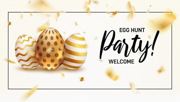 Uova dipinte per le vacanze di pasqua e coriandoli dorati