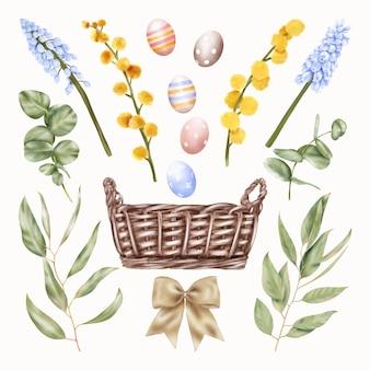 Cesto di vacanze di pasqua con fiori blu e gialli, uova