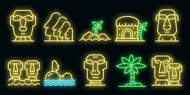 Set di icone dell'isola di pasqua. insieme del profilo delle icone di vettore dell'isola di pasqua colore neon su nero