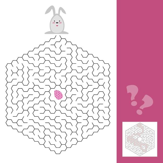 Gioco del labirinto di pasqua o pagina di attività per bambini con risposta