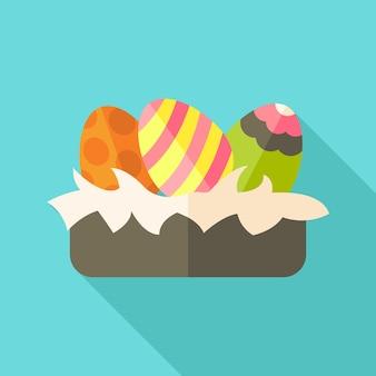 Nido di pasqua con le uova. illustrazione stilizzata piatta con ombra