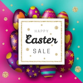 Banner di vendita online di pasqua con uova realistiche