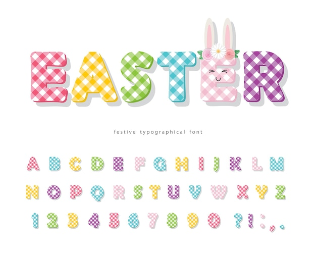 Carattere di plaid di pasqua. alfabeto tessile colorato.