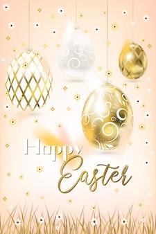 Porceline di pasqua e uova e coriandoli dorati nel cielo e nell'erba crema