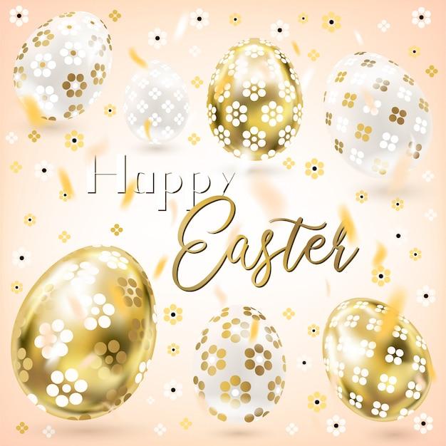 Porceline di pasqua e uova d'oro con decorazioni floreali e coriandoli nel cielo color crema