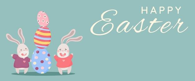 Poster di pasqua e modello di banner con uova di pasqua e coniglietti su sfondo pastello.