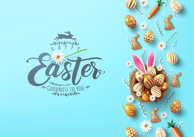 Modello di poster e banner di pasqua con le uova di pasqua nel nido con orecchio di coniglietto su sfondo azzurro.