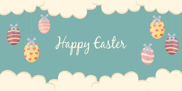 Poster di pasqua e modello di banner con uova di pasqua su sfondo pastello.