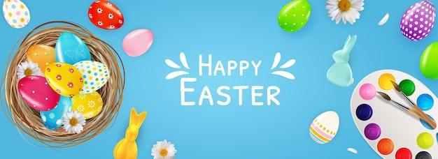 Modello di poster di pasqua con uova di pasqua realistiche 3d, nido, vernici, coniglietto. Vettore Premium