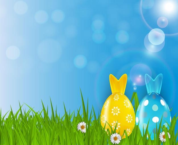 Modello di poster di pasqua con uova realistiche 3d, erba e sfondo di primavera.
