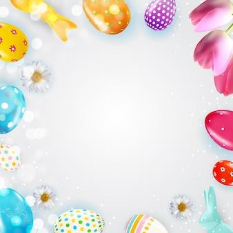 Modello del manifesto di pasqua con vernice realistica delle uova 3d