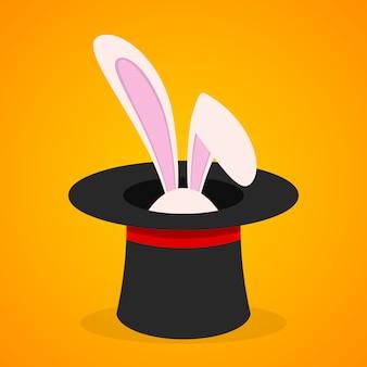 Coniglio pasquale nel cappello magico. illustrazione.