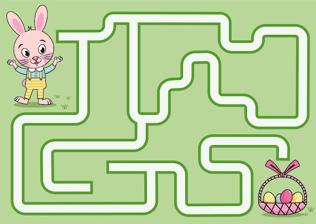 Gioco del labirinto del coniglio di pasqua per i bambini illustrazione vettoriale
