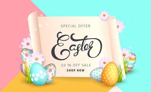 Modello di sfondo banner vendita di pasqua con bellissimi fiori primaverili colorati e uova.