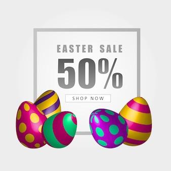 Banner di vendita di pasqua con bellissime uova colorate. sfondo vettoriale. illustrazione di primavera.