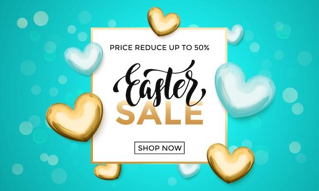 Manifesto di scintillio del cuore dell'oro di vendita di pasqua