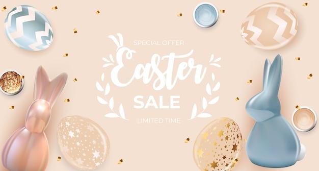 Modello di vendita di pasqua con uova di pasqua realistiche 3d e vernice.