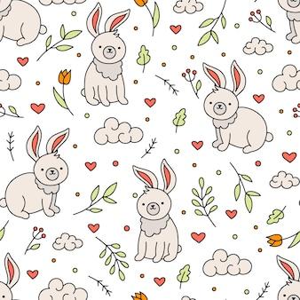 Modello senza cuciture di pasqua con coniglietti e cuori in stile doodle