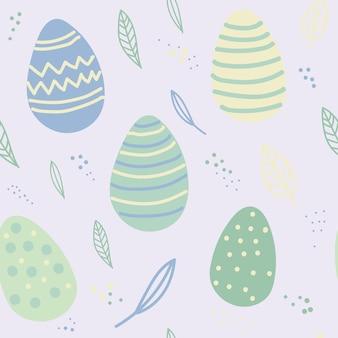 Motivo pasquale senza cuciture con foglie di uova natalizie perfetto per riempimenti di carta da parati con carta da regalo