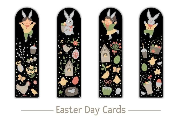 Set di segnalibri di pasqua per bambini. coniglietto carino e bambini felici su sfondo nero. modelli di scheda layout verticale a tema vacanza. articoli di cancelleria per bambini.