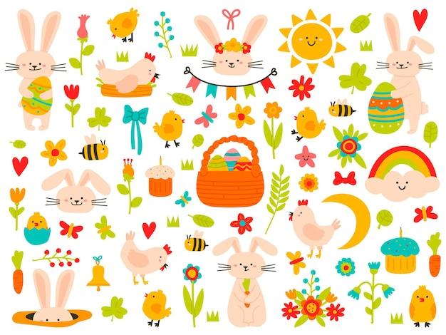 Elementi di primavera di pasqua. uova, coniglio, fiori e galline, simpatici simboli a tema pasquale