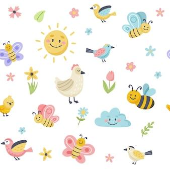 Modello di primavera di pasqua con simpatici uccelli, api, farfalle. elementi di cartone animato piatto disegnato a mano.