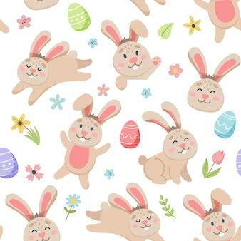 Modello di primavera di pasqua con simpatici coniglietti, uova, uccelli, api, farfalle. elementi di cartone animato piatto disegnato a mano.