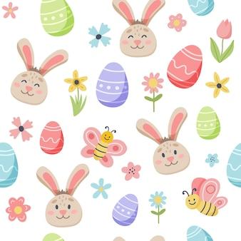 Modello di primavera di pasqua con coniglietto carino e uova decorate. elementi di cartone animato piatto disegnato a mano.