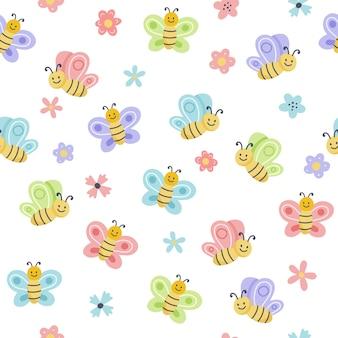 Modello di primavera di pasqua con uova carine, uccelli, api, farfalle. elementi di cartone animato piatto disegnato a mano.