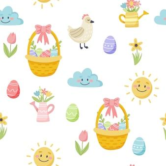 Modello di primavera di pasqua con uova e fiori carini. elementi di cartone animato piatto disegnato a mano.