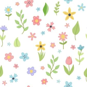 Modello di primavera di pasqua con fiori e foglie carini. elementi di cartone animato piatto disegnato a mano.