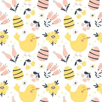 Modello senza cuciture di primavera di pasqua con graziosi uccelli, uova e fiori. elementi di cartone animato piatto disegnato a mano. illustrazione.