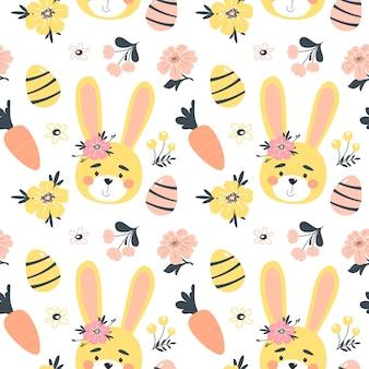 Modello senza cuciture di primavera di pasqua con coniglietto carino, uova e fiori. elementi di cartone animato piatto disegnato a mano. illustrazione.