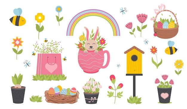 Primavera di pasqua con simpatici animali, uccelli, api e farfalle. elementi di cartone animato piatto disegnato a mano.