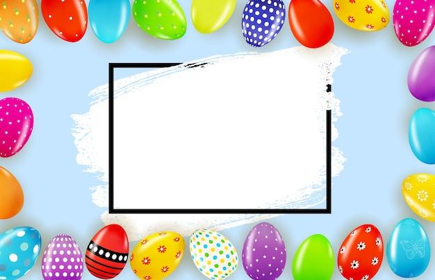 Modello di pasqua con uova di pasqua realistiche 3d e vernice.