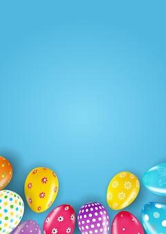 Modello di pasqua con uova di pasqua realistiche 3d.