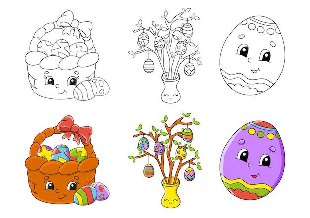 Tema pasquale. impostare la pagina da colorare per i bambini. Vettore Premium