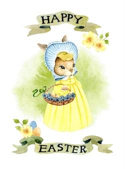 Cartolina d'auguri dell'acquerello del coniglietto della signora di tempo di pasqua