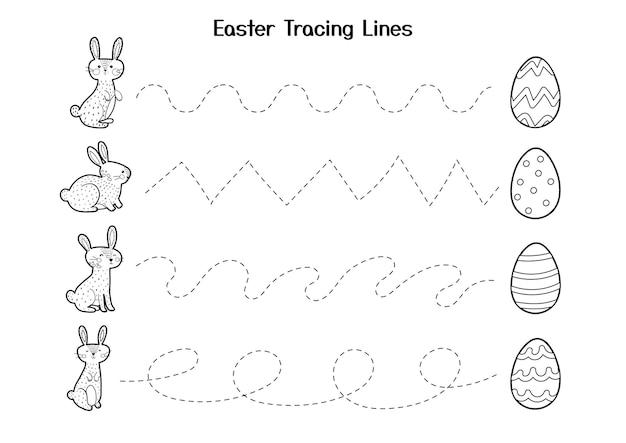 Foglio di lavoro per le linee di tracciamento pasquale per bambini