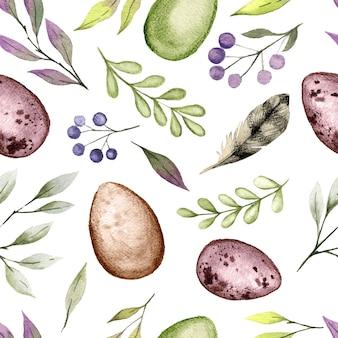 Reticolo senza giunte dell'acquerello di pasqua con uova e vegetazione, illustrazione dell'acquerello disegnato a mano.