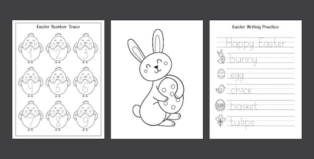 Set di fogli di lavoro di pasqua con simpatico coniglietto e pulcino raccolta di pagine di attività primaverili in bianco e nero per bambini pagina da colorare con coniglio e uova pratica di scrittura di pasqua Vettore Premium