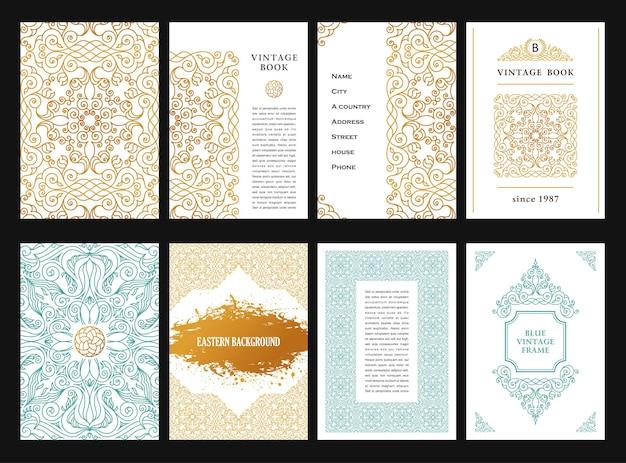 Cornici arabe in oro orientale per il design di linee di carte e cartolinemodelli
