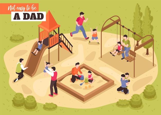 Non è facile essere un'illustrazione isometrica di papà con i padri che giocano con i loro figli nel parco giochi
