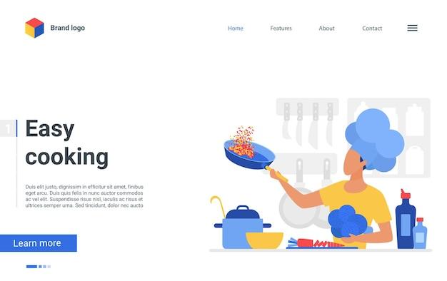 Pagina di destinazione per cucinare facilmente, lo chef prepara cibi sani in cucina, corso di cucina o scuola
