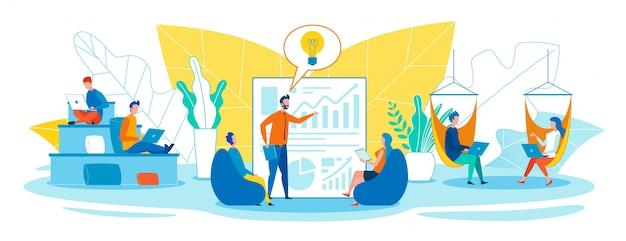 Lavoro facile e creativo in open office space