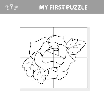 Gioco di carta educativo facile per i bambini. red rose puzzle - il mio primo puzzle e libro da colorare