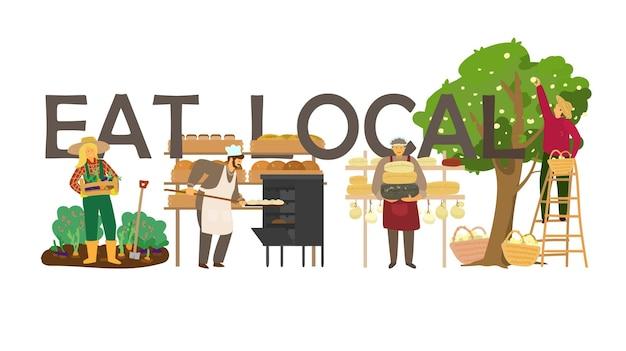 Mangia il concetto locale con diversi produttori di prodotti
