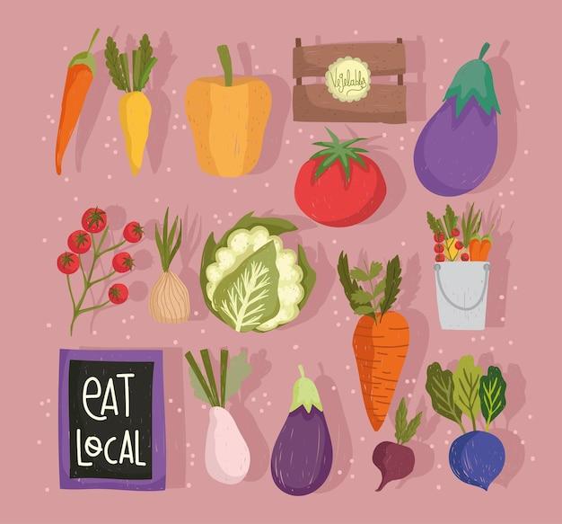 Mangia cibo fresco locale verdure sano e set nutrizione